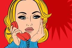 Retro- Frau der Pop-Art in den Comics reden die Unterhaltung am Telefon an Stockbilder