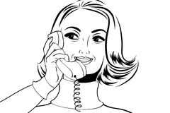 Retro- Frau der Pop-Art in den Comics reden die Unterhaltung am Telefon an Lizenzfreie Stockbilder