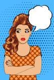 Retro- Frau der schönen Brünette missbilligt Stockfoto