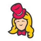 Retro- Frau im Weinlese Hutzeichen stock abbildung