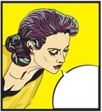 Retro- Frau komische Liebes-Vektorillustration des Gesichtes Stockbild