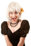 Retro- Frau mit dem weißen Haar Stockbild