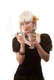 Retro- Frau mit dem weißen Haar Stockfotos