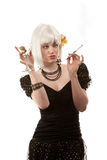 Retro- Frau mit dem weißen Haar Lizenzfreies Stockfoto