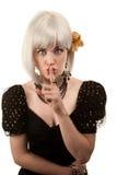 Retro- Frau mit dem weißen Haar Lizenzfreies Stockbild