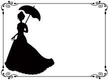 Retro Frau mit Regenschirm und Feld Stockbild