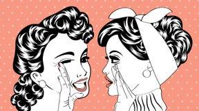 Retro- Frauen der Pop-Art in den Comics reden diesen Klatsch an Stockbilder