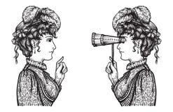 Retro- Frauenchat lizenzfreie abbildung