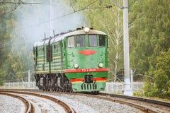 Retro freight diesel locomotive Stock Image