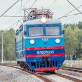 Retro freight electric locomotive. Stock Photo