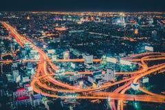 Retro färglinje av vägen i huvudstaden Thailand Arkivfoton