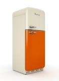 Retro fridge isolated white background 3D rendering. Retro fridge isolated on white background 3D rendering Stock Image