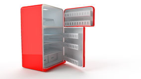 Retro Fridge refrigerator in red retro color. Royalty Free Stock Photography
