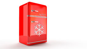 Retro Fridge refrigerator in red retro color. Stock Photos