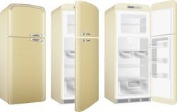 Retro frigorifero realistico della cucina di stile, dipinto nel colore beige Insieme dell'illustrazione di vettore isolato su fon illustrazione vettoriale