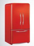 retro frigorifero rosso Fotografia Stock Libera da Diritti