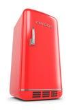 Retro frigorifero rosso Immagini Stock