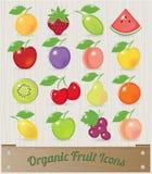 Retro- Frucht-Ikone stellten 16 mit hölzerner Kiste und Retro- ein Stockfoto