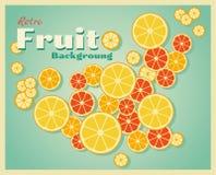 Retro- Fruchthintergrund mit Orangen Stockbild
