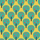 Retro fruit apple trees teal red blue yellow. Vector seamless pattern. Vintage inspired background. Flat Scandinavian style. royalty free illustration