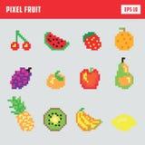 Retro frutta del pixel, insieme dell'icona del gioco Immagine Stock Libera da Diritti