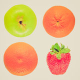 Retro frutti di sguardo isolati Fotografie Stock Libere da Diritti