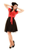 Retro. Full length of woman girl in pinup style Stock Photos