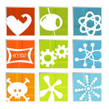Retro Fun Icons (vector). Retro-stylized colorful set of fun icons in beveled frame; symbols kept whole so you can move them around, Easy-edit layered file stock illustration