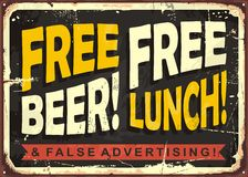 Retro funny sign layout with promotional message. Free beer, free lunch and false advertising. Retro funny sign layout with promotional message for restaurant Royalty Free Stock Photos