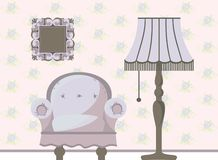Retro furniture. Old chair and floor lamp in the interior royalty free illustration