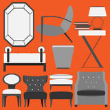 Retro Furniture and Home Accessories. Furniture can be used in website, pages, and magazine Stock Image