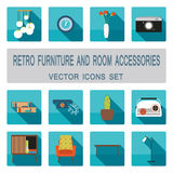 Retro furniture and room accessories with shadows vector icons set. Home furniture icons set Stock Image