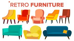 Retro Furniture Vector. Vintage 1950s, 1960s Armchair Sofa. Mid Century Interior. Isolated Cartoon Illustration stock illustration