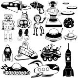Retro future black icons. Vector illustration of different retro future black icons Stock Photos