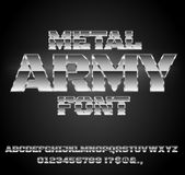 Retro Future Font. Military Army Sci-Fi Movies Style Chrome Typeface in 80s Retro Futurism style. Vector font Royalty Free Stock Photos