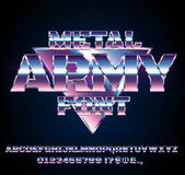 Retro Future Font. Retro Future Military Army Sci-Fi Movies Style Chrome Typeface in 80s Retro Futurism style. Vector font Royalty Free Stock Photo