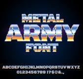 Retro Future Font. Retro Future Military Cyber Sci-Fi Movies Style Chrome Typeface in 80s Retro Futurism style. Vector font Stock Illustration