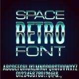 Retro Future Font. Retro Future Space Old VHS Age Blue Sci-Fi Movies Style Chrome Typeface in 80s Retro Futurism style. Vector font Stock Photo
