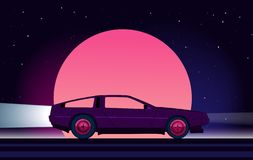 80s style sci-fi background with supercar. Retro future. 80s style sci-fi background with supercar. Futuristic retro car. Vector retro futuristic synth vector illustration
