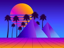 Retro futurism pyramids with palm trees. Perspective grid. Neon sunset. Synthwave retro background. Retrowave. Vector. Illustration royalty free illustration