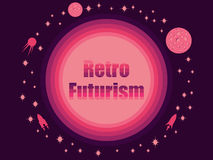 Retro futurism in 80`s retro style. Space travel, asteroids and space ships. Vector illustration stock illustration