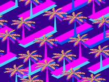 Retro futurism seamless pattern with palm tree. Geometric elements memphis in the style of 80s. Synthwave retro background. Retrowave. Vector illustration Stock Photography