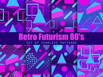 Retro futurism seamless pattern set. Geometric elements memphis in the style of 80`s. Synthwave retro background. Retrowave. Vector illustration royalty free illustration