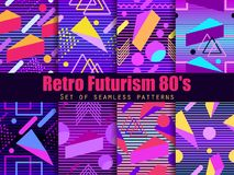 Retro futurism seamless pattern set. Geometric elements memphis in the style of 80`s. Synthwave retro background. Retrowave. Vector illustration vector illustration