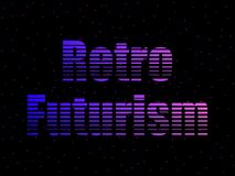 Retro futurism text in the 80s style, letters against the background of space, stars. Sci-Fi Background. Vector. Illustration stock illustration