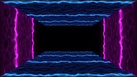 80s VHS tape style particle landscape VJ motion abstract neon intro. Retro futuristic abstract neon intro. 80s vintage VHS tape style particle landscape VJ royalty free illustration