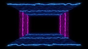 80s VHS tape style particle landscape VJ motion abstract neon outro. Retro futuristic abstract neon outro. 80s vintage VHS tape style particle landscape VJ vector illustration
