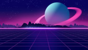 Retro futuristic background 1980s style 3d illustration. Digital landscape in a cyber world. For use as music album cover Royalty Free Stock Images