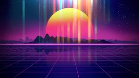 Retro futuristic background 1980s style 3d illustration. Digital landscape in a cyber world. For use as music album cover Royalty Free Stock Photos