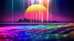 Retro futuristic background 1980s style 3d illustration. Digital landscape in a cyber world. For use as music album cover Stock Photography
